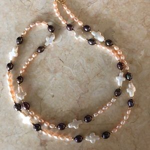 Jewelry - Freshwater multi color pearl cross necklace